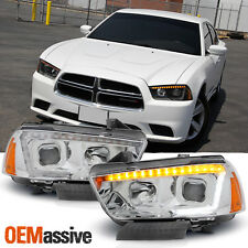 Fit 2011-2014 Dodge Charger LED Signal DRL Tube Projector Headlights
