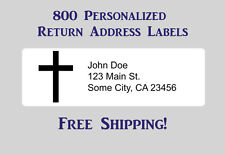 800 Printed Personalized Return Address Labels - 1/2 x 1 3/4 Inch with Cross