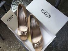 L.K. BENNETT,'ARIEL',NATURAL/GOLD,LEATHER BOW,PEEP-TOE COURT SHOES/HEELS/SANDLES
