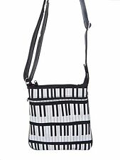 """USA HANDMADE CROSS COVERBODY BAG  """"LEARNING PIANO"""" PATTERN PURSE  ,COTTON, NEW"""