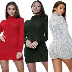 New Women's Ladies Polo Neck Warm Sweater Chunky Cable Knitted Jumper Dress