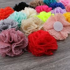 Chic Shabby Wool Mesh Artificial Fabric Flowers For Headbands 7cm 20pcs