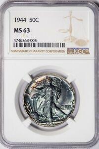 1944 Walking Liberty NGC MS63 Unique, Toned Silver Half Dollar!
