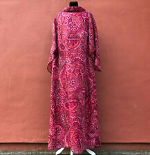 VINTAGE 1970s PINK FUSCHIA ORIENTAL PATTERN COLLARED MAXI DRESS 46 UK 16