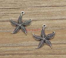 15pcs Large Starfish Charms Beach Sea Charms Antique Silver Tone 28x24mm 1417