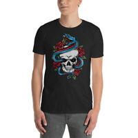 Snake Rose With Skull Gildan 64000 Men Softstyle T-Shirt NEW!