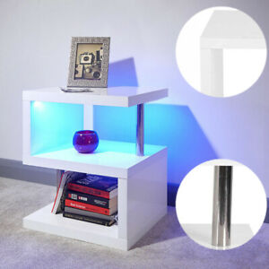 High Gloss LED Side Table Modern End Coffee Table Storage Shelves Stand S-shaped