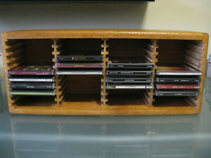 Solid Oak CD Cabinet / Desktop or Shelf / Holds 40 CD's