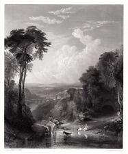 "Beautiful JMW TURNER 1800s Engraving ""Italianate Landscape"" Framed SIGNED COA"