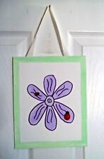 New hand painted girls purple flower 3d ladybug green trim wall art