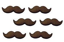 Black Mustache 6 pc. 2 inch Icing Decorations - Sugar Layons #47053 New