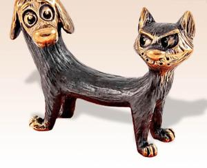 Miniature Bronze Figurine Catdog sculpture art manual processing rare -