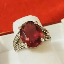 Vintage 14k Gold 7.06 Ct Pink Tourmaline & Diamond Ring Size 5 3/4
