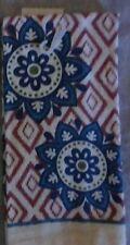 NEW KITCHEN COTTON DISH TOWEL Modern  COLORS  Mandala Flowers Teal Blue  Ecru