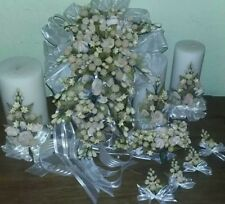 Cascading Beige Roses Clay Bridal Bouquet, Candles, Accessories 9 Pieces