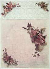 Rice paper -A/3 Roses on Crackle- for Decoupage Decopatch Scrapbook Craft Sheet