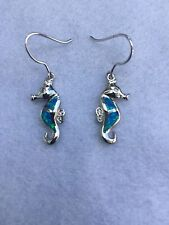 NEW STERLING SILVER & OPAL STONE NAUTICAL SEAHORSE DANGLE EARRINGS SEALIFE FISH