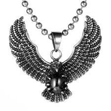 Mendino Men's 316L Stainless Steel Pendant Necklace Eagle Hawk Claw Zircon Biker
