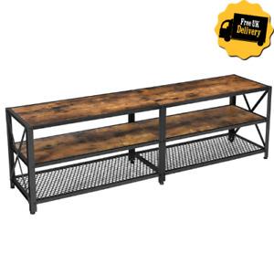 Large TV Stand Vintage Industrial Furniture Rustic Metal Unit Room Media Cabinet