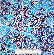 """Batik Textiles Fabric - Blue & Purple Conch on Off White - Quilt Cotton 13"""""""