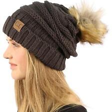 Oversized Pom Pom Fur Chunky Thick Knit Slouch Beanie Skull Ski Hat Cap Charcoal