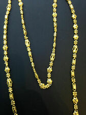 """Vintage Handmade Dubai Chain Necklace In Solid Certified 22Karat Yellow Gold 25"""""""