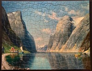 """Vintage TUCO Deluxe Picture Puzzle """"SCENE IN NORWAY""""  Complete 19""""x15"""""""