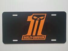 Harley-Davidson #1  Skull Logo  License Plate black plate Orange decal