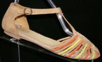 Seychelles Into Thin Air multi-colored suede huarache buckle moc sandal flats 8
