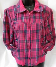 Apollo Outerwear Womens Sz 2X Cotton Bomber Jacket Zip Up Pink Plaid Pockets