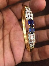 Stunning 3.95 Cts Natural Diamonds Sapphire Cuff Bracelet In Certified 14K Gold