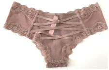 NWT* Victoria's Secret VERY SEXY SILKY*CRISS-CROSS BACK CHEEKY--LIGHT BEIGE--S/P