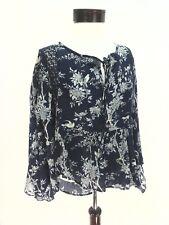 DENIM & SUPPLY Ralph Lauren Boho Peasant Top Shirt Blue FLORAL Womens M EUC $125