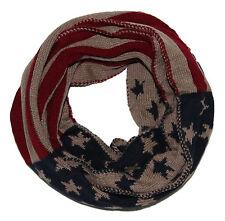 Damen Loopschal Strickschal USA Sterne beige Schlauchschal Loop Schal