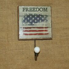 Freedom Wall Sign Hook Hanger Patriotic Rustic Americana Flag Home Decor