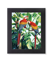 Two Scarlet Macaw Parrott Birds in Palm Tree Wall Picture Black Framed