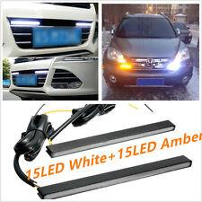 2X12V LED COB Car 2Colors Fog Driving Daytime Running Lamp Ultra Slim Switchback