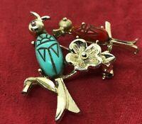 Vintage Brooch Pin Scarab Beetle Egyptian Revival Bird Gold Tone Flower