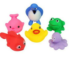 6 Mix Style Baby Bath Toy Rubber Squeaky Float Duck Frog Penguin Fish Set NEW