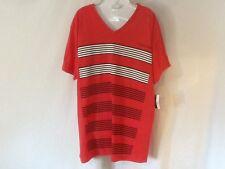 Volcom Men's Short Sleeve V-Neck Shirt Red/Black/White Size Large NWT