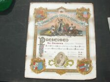 44279 Old Vintage Antique Card Certificate Masonic Lodge Oddfellows member