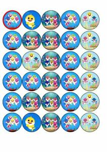 30  Baby shark edible rice paper cup cake toppers,.
