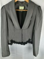 Review Grey Blazer Jacket Workwear Womans Size 8