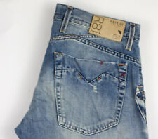 Replay Hommes Skar Jeans Jambe Droite Taille W33 L36 ALZ893