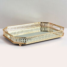 Decorative Metal Serving/Dressing Table Drinks Cradle Trays with Mirror Base