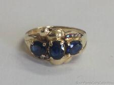 Estate Jewelry Ladies Blue Sapphire & Diamond Ring 14K Yellow Gold Band Size 6