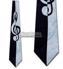 Treble Clef Tie Music Necktie Navy White Teacher Neck Ties Brand New