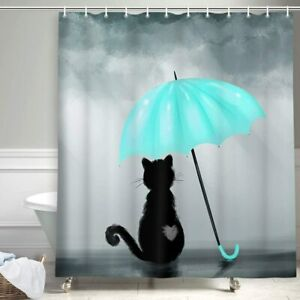 Funny Pet Lover Japanese Kitty Cat, Black Cat with Teal Umbrella Shower Curtains