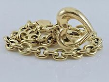 "14k Yellow Gold Michael Anthony Rolo Chain Link Bracelet Puffy Heart Charm 7""L"