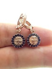 Earring For Woman Handmade Onyx 925 Silver Turkish Jewelry Rose Gold Plated